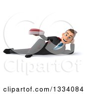 Clipart Of A 3d Happy Young White Super Businessman Resting On His Side And Holding A Beef Steak Royalty Free Illustration
