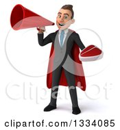 Clipart Of A 3d Happy Young White Super Businessman Holding A Beef Steak And Announcing With A Megaphone Royalty Free Illustration