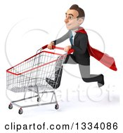 Clipart Of A 3d Happy Young White Super Businessman Sprinting To The Left With A Shopping Cart Royalty Free Illustration