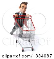 Clipart Of A 3d Happy Young White Super Businessman Struggling With A Shopping Cart Royalty Free Illustration