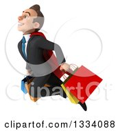 Clipart Of A 3d Happy Young White Super Businessman Flying With Shopping Bags Royalty Free Illustration