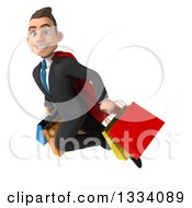 Clipart Of A 3d Happy Young White Super Businessman Flying With Shopping Bags 2 Royalty Free Illustration