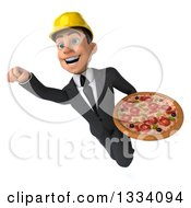 Clipart Of A 3d Young White Male Architect Flying With A Pizza Royalty Free Illustration