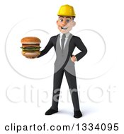 Clipart Of A 3d Young White Male Architect Holding A Double Cheeseburger Royalty Free Illustration