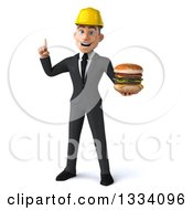 Clipart Of A 3d Young White Male Architect Holding Up A Finger And A Double Cheeseburger Royalty Free Illustration