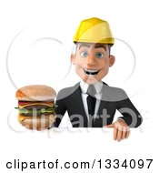 Clipart Of A 3d Young White Male Architect Holding A Double Cheeseburger Over A Sign Royalty Free Illustration