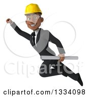 Clipart Of A 3d Young Black Male Architect Flying And Holding Plans Royalty Free Illustration by Julos