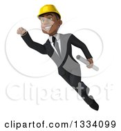Clipart Of A 3d Young Black Male Architect Flying And Holding Plans 2 Royalty Free Illustration by Julos