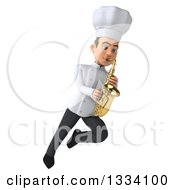 Clipart Of A 3d Young White Male Chef Flying And Playing A Saxophone 2 Royalty Free Illustration