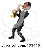 Clipart Of A 3d Happy Young Black Businessman Leaning Back And Playing A Saxophone 3 Royalty Free Illustration by Julos