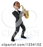 Clipart Of A 3d Happy Young Black Businessman Leaning Back And Playing A Saxophone 2 Royalty Free Illustration by Julos