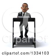 Clipart Of A 3d Young Black Businessman Struggling On A Treadmill Royalty Free Illustration