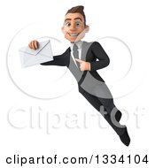 Clipart Of A 3d Happy Young White Businessman Flying Pointing To And Holding An Envelope Royalty Free Illustration
