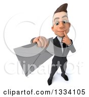Clipart Of A 3d Happy Young White Businessman Thinking And Holding Up An Envelope Royalty Free Illustration