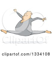 Cartoon Chubby White Man Leaping And Doing The Splits