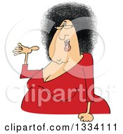 Clipart Of A Cartoon Chubby Presenting White Woman With Glasses And An Afro Hair Style Royalty Free Vector Illustration by djart