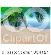 Clipart Of A 3d Tropical Island Beach With White Sand A Palm Tree In The Foreground And Blue Water With Sky Royalty Free Illustration