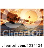 Clipart Of A 3d Tropical Island With Palm Trees Silhoueted Against An Orange Ocean Sunset Royalty Free Illustration