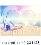 Clipart Of A 3d Vintage Style Tropical Island Beach With White Sand A Sun Lounger Chair Luggage Palm Trees And Sky Flares Royalty Free Illustration by KJ Pargeter