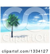 Clipart Of A 3d Tropical Island Beach With White Sand A Palm Tree And Blue Water With Clouds In The Sky Royalty Free Illustration