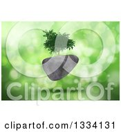 Clipart Of A 3d Tree Growing On A Floating Rock Voer Green Flares Royalty Free Illustration