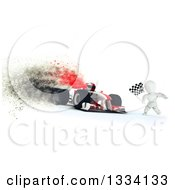 Clipart Of A 3d Race Car Driver And White Character With A Checkered Flag At The Finish Line With Special Effects Royalty Free Illustration by KJ Pargeter