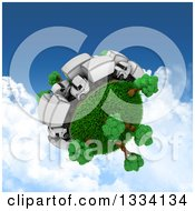 Clipart Of A 3d Roadway With Big Rig Trucks In Traffic Around A Grassy Planet With Trees Over Sky With Clouds Royalty Free Illustration