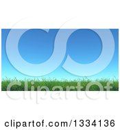 Clipart Of A 3d Spring Or Summer Blue Sky Over Green Grass Royalty Free Illustration