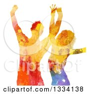Clipart Of A Colorful Paint Splatter Silhouetted Woman And Man Dancing On White Royalty Free Vector Illustration by KJ Pargeter