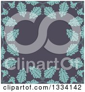 Clipart Of A Retro Background Of Blue Leaves Over Gray Royalty Free Vector Illustration by KJ Pargeter