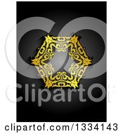 Clipart Of A Vintage Gold Snowflake Design On Gradient Black Royalty Free Vector Illustration
