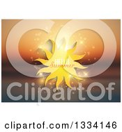 Clipart Of A Cartoon Sun With Hellow Summer Text And Sparkles Over A Blurred Ocean Sunset Royalty Free Vector Illustration