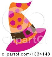 Clipart Of A Pink Orange And Brown Polka Dot Halloween Witch Hat Royalty Free Vector Illustration