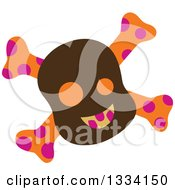 Poster, Art Print Of Halloween Brown Orange And Pink Skull And Crossbones
