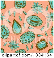 Seamless Background Pattern Of Turquoise And Brown Flowers And Gems Over Salmon Pink