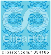 Clipart Of A Seamless Background Pattern Of Blue Flowers Royalty Free Vector Illustration