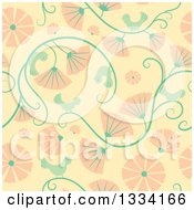 Clipart Of A Seamless Background Pattern Of Retro Birds Vines And Pink Flowers Royalty Free Vector Illustration