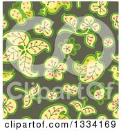 Clipart Of A Seamless Background Pattern Of Retro Leaves And Flowers Over Green Royalty Free Vector Illustration