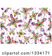 Seamless Background Pattern Of Doodled Flowers Over Purple On White