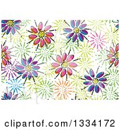 Seamless Background Pattern Of Colorful Doodled Flowers