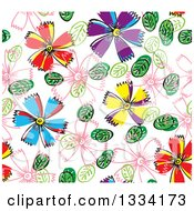Clipart Of A Seamless Background Pattern Of Doodled Flowers And Leaves 2 Royalty Free Vector Illustration