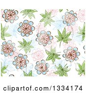 Seamless Background Pattern Of Doodled Flowers And Leaves 3