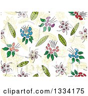 Clipart Of A Seamless Background Pattern Of Doodled Flowers And Leaves 4 Royalty Free Vector Illustration