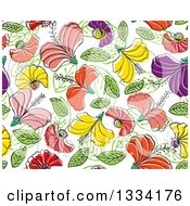 Clipart Of A Seamless Background Pattern Of Doodled Flowers And Leaves Royalty Free Vector Illustration