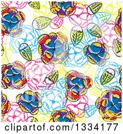 Clipart Of A Seamless Background Pattern Of Doodled Flowers And Leaves 5 Royalty Free Vector Illustration