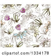 Seamless Background Pattern Of Doodled Flowers On White