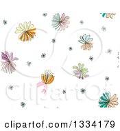 Seamless Background Pattern Of Doodled Flowers Over White