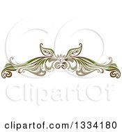 Clipart Of A Green And Brown Floral Design Element Flourish Royalty Free Vector Illustration