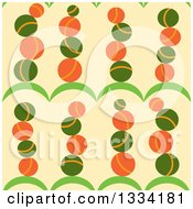 Seamless Background Pattern Of Stacked Balls On Hills Over Beige