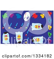 Poster, Art Print Of Artist Paints Brushes Palette Hat And Ghosts On Blue